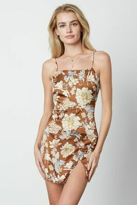 Brown Floral Mini Dress