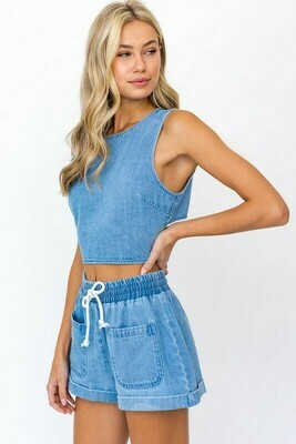 Denim Cutout Back Crop