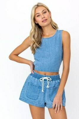 Denim Elastic Waist Shorts