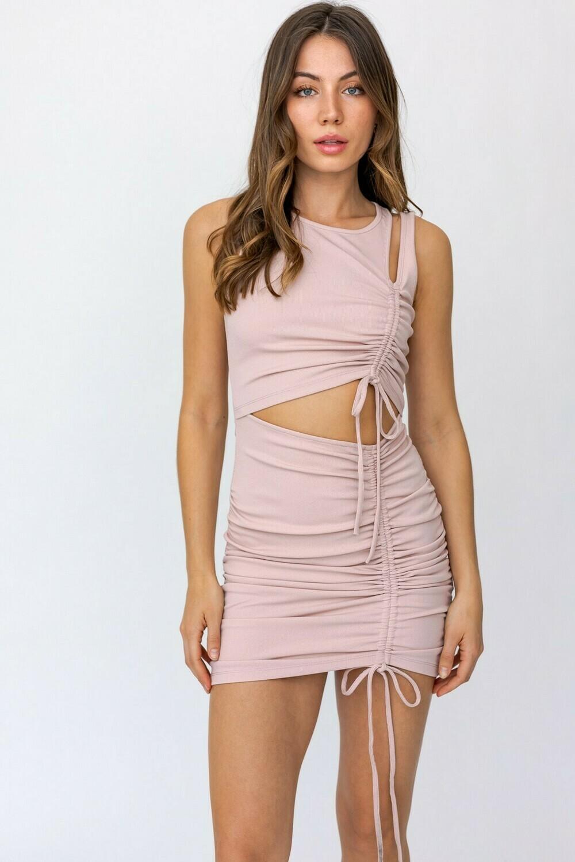 Blush Cutout Shirring Knit Dress