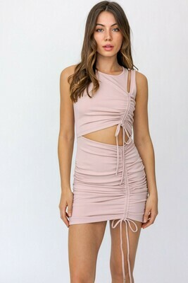 Blush Cutout Shirring Knit Dress