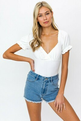 White Puff Ruffle Detail Bodysuit
