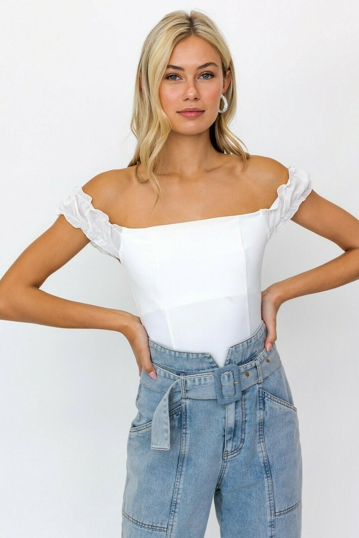 White Contrast Off-Shoulder Bodysuit