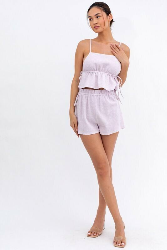 Lavender Tie Side Knit Shorts