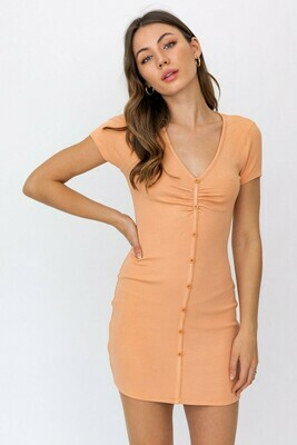 Apricot Shirring Knit Dress