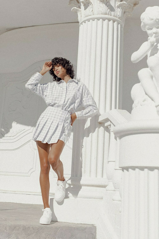 White Faded Flannel Tennis Skirt