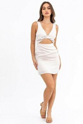 Cream Front Twist Mini Dress