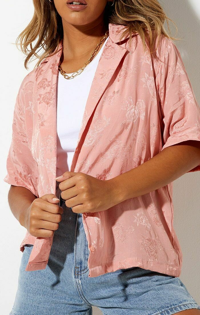Rose Coral Button Down Shirt