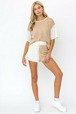 Taupe Color Block Knit Shorts