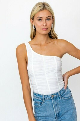 White One Shoulder Ruched Bodysuit