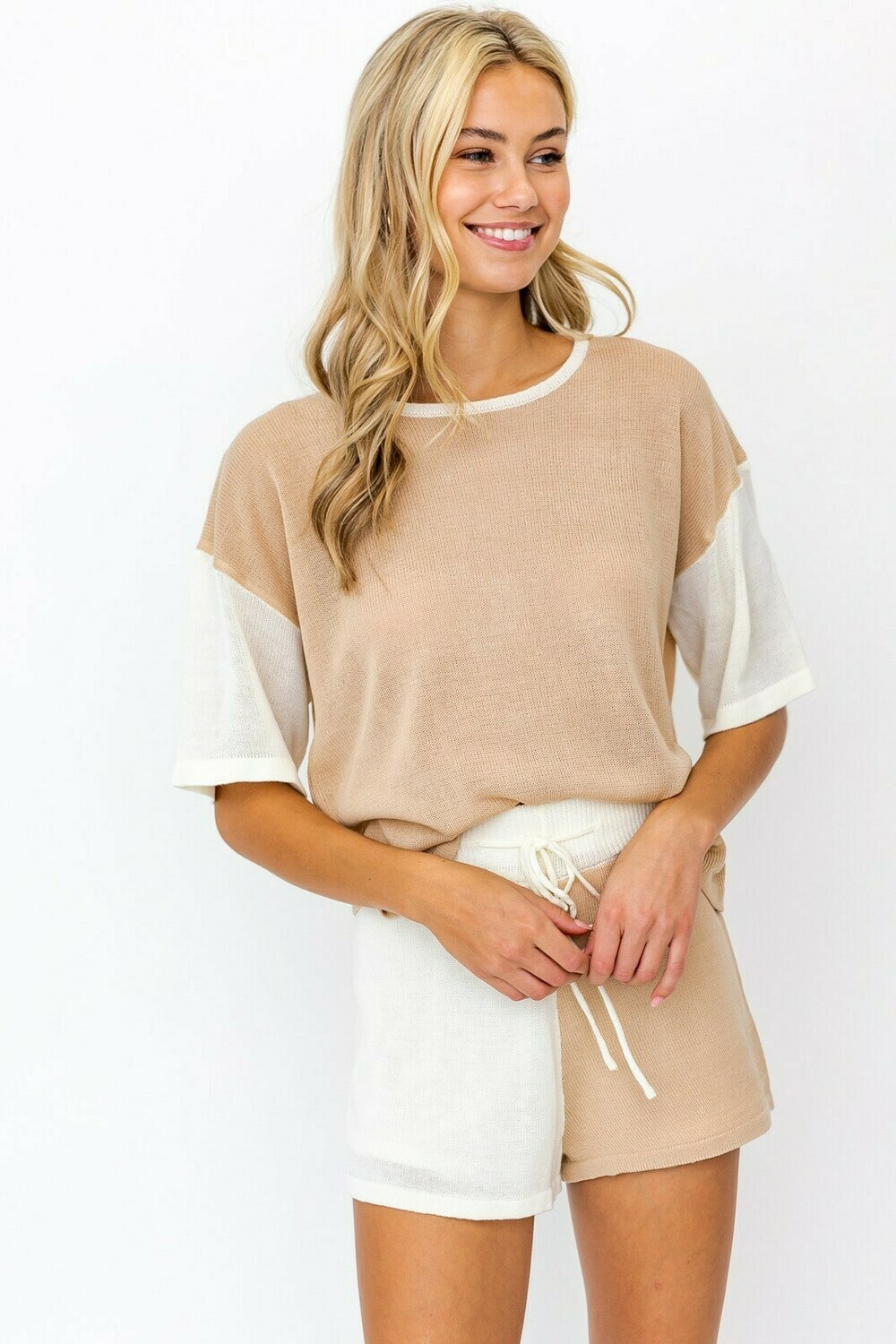 Taupe Color Block Knit Sweater