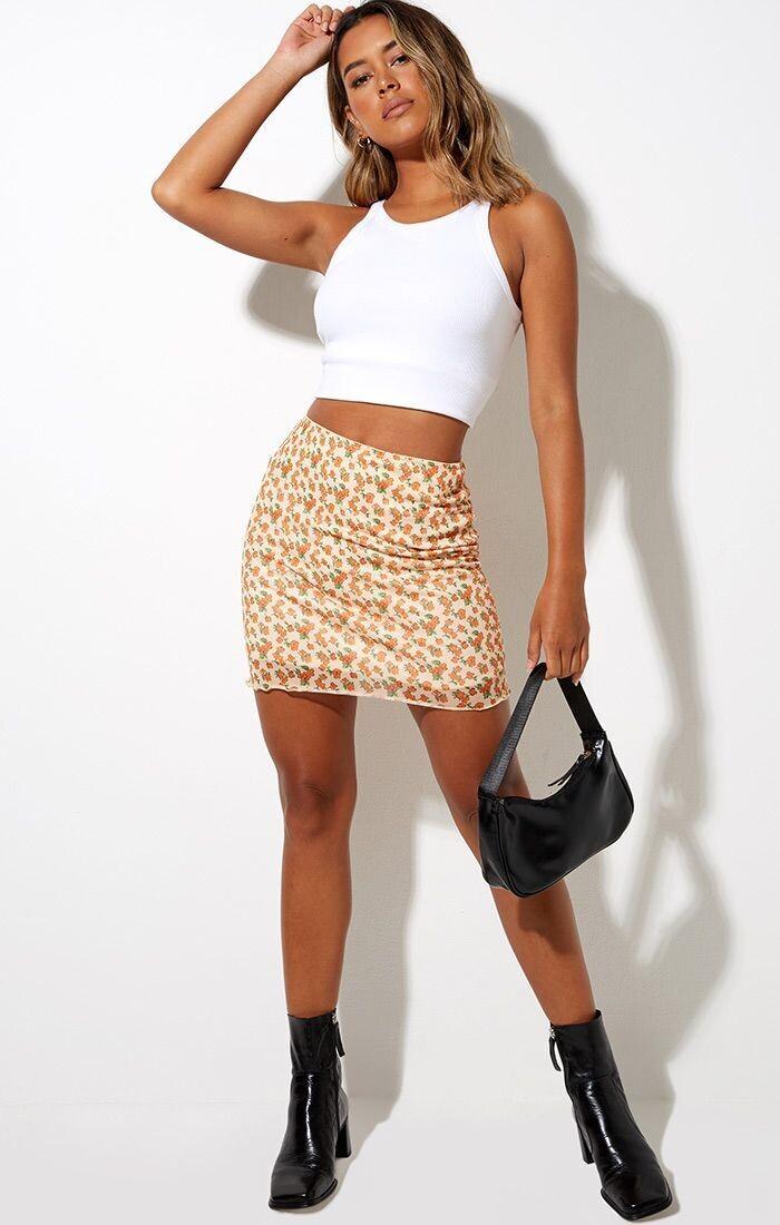 Orange Bloom Mini Skirt