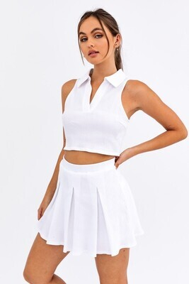 White Collared Ribbed Crop