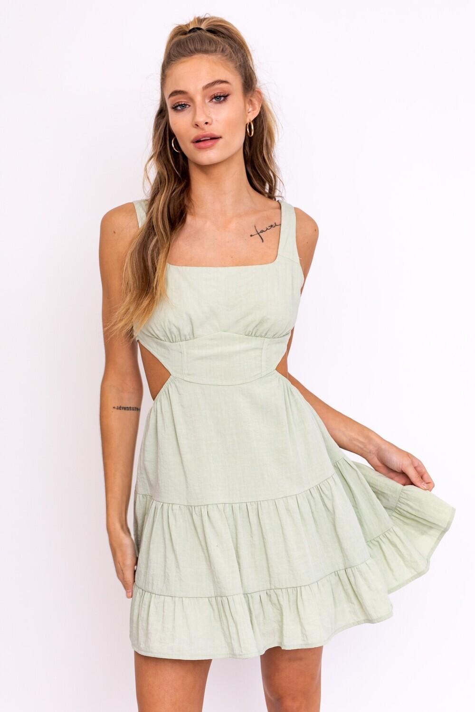 Sage Corset Tiered Dress