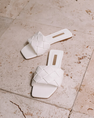 White Quilted Slide