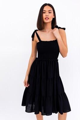 Black Smocked Tier Dress