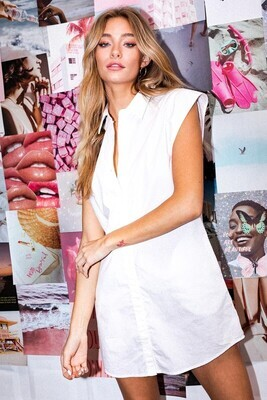 White Muscle Slv Shirt Dress