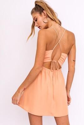 Peach Tie Back Mini Dress
