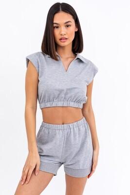 Grey Power Shoulder Crop Top