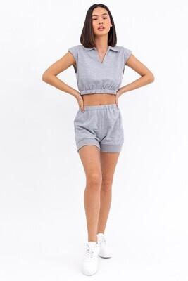 Grey Ribbed Sweat Shorts
