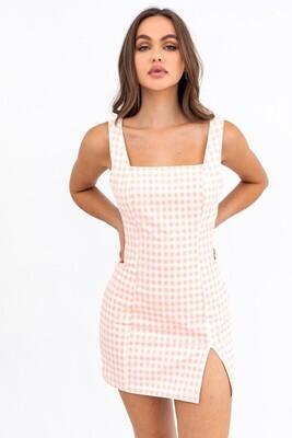 Peach Checkered Mini Dress