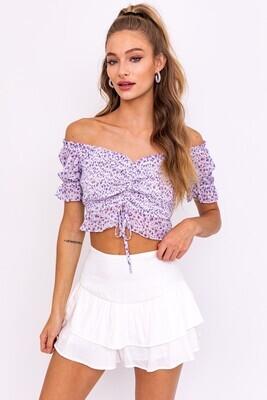 Purple Floral Scrunch Crop
