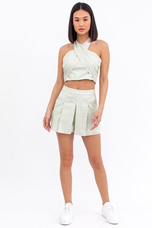Sage Plaid Pleated Shorts