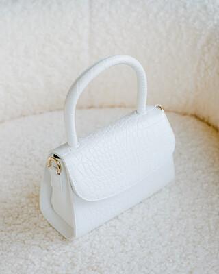 White Croc Liv Shoulder Bag