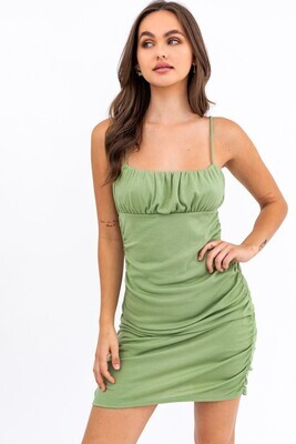 Sage Ruched Cami Dress