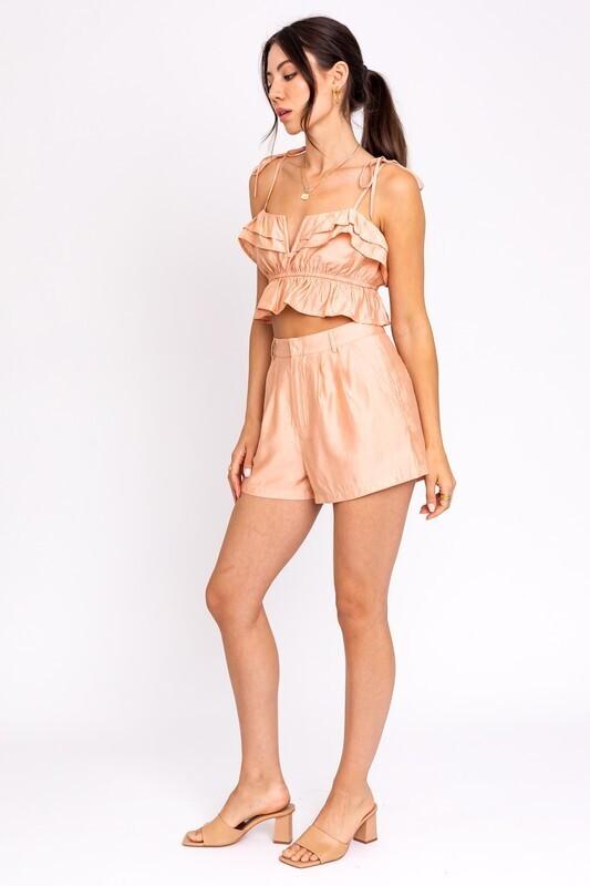 Peach Pleated Shorts