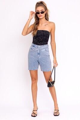 Denim Asymmetrical Belted Shorts