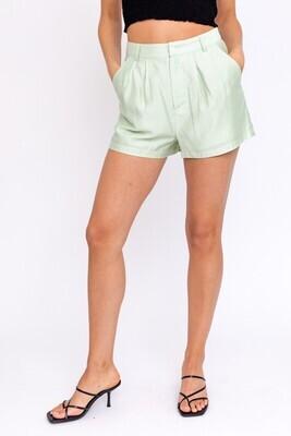 Pistachio Pleated Shorts
