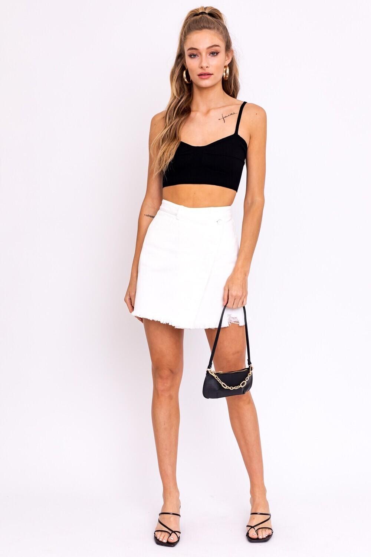 White Asymmetrical Denim Skirt