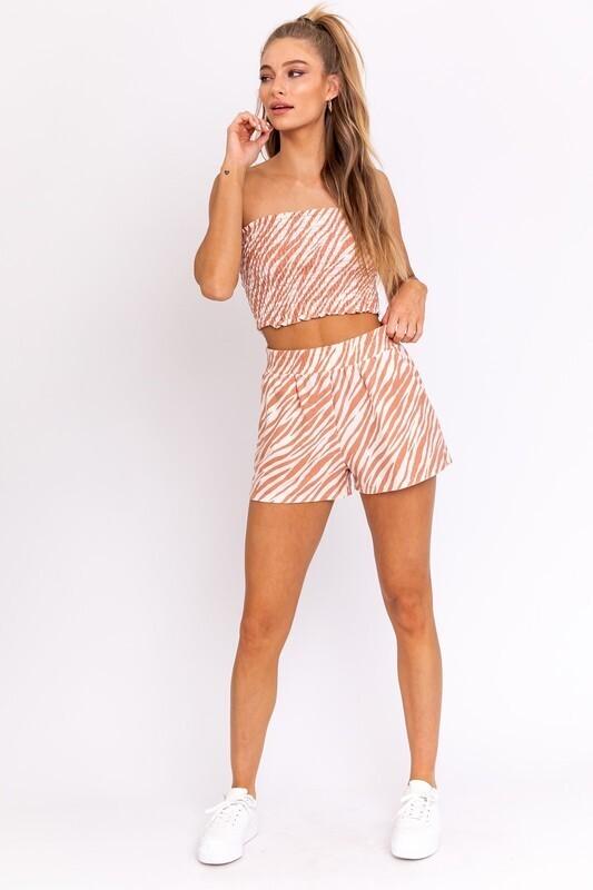 Peach Zebra Side Slit Shorts