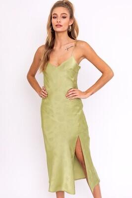 Moss Green Textured Satin Dress