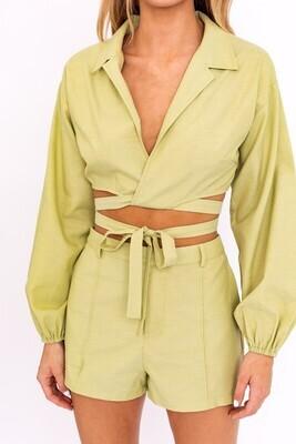 Green Pintuck Detail Shorts