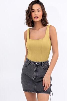Dusty Yellow Lined Bodysuit