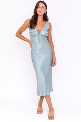 Dusty Mint Silky Midi Dress