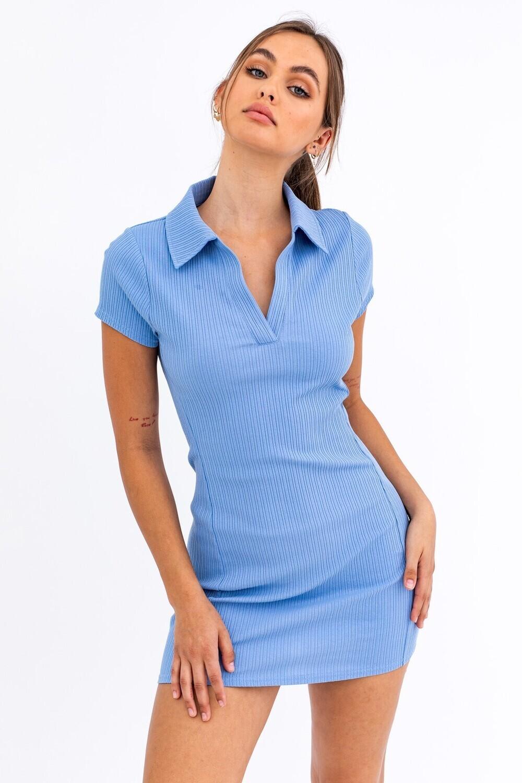 Dusty Blue Collared Tennis Dress