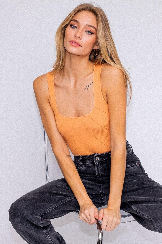 Orange Merrow Detail Bodysuit