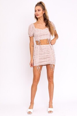 Taupe White Floral Mesh Skirt