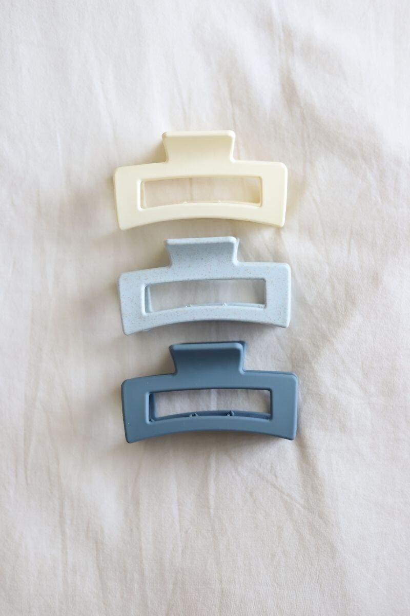 Blue Rectangle Hair Claw Set