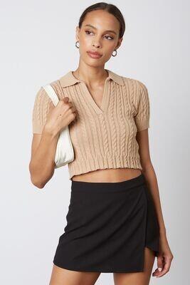 Tan Polo Sweater Crop