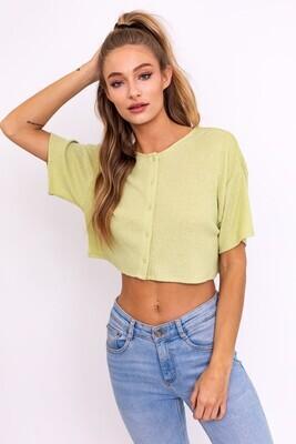Light Green Knit Button Top