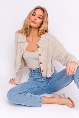 Oatmeal Button Sweater Cardigan