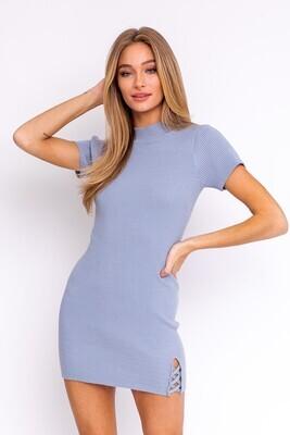 Blue Ribbed Mini Dress