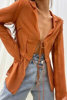 Orange Sheer Thin Long Slv