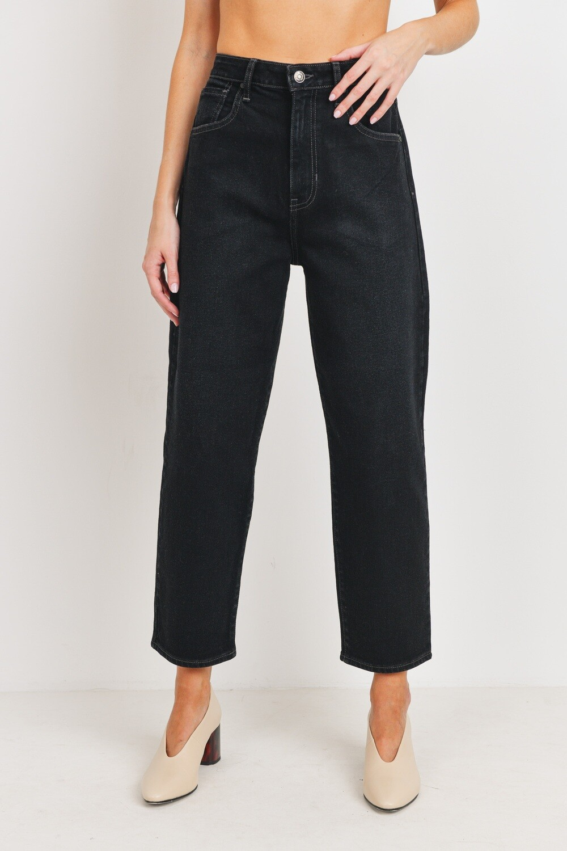 Black High-Rise Barrel Jeans