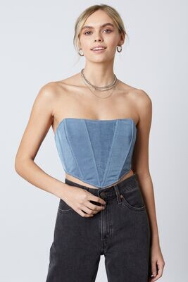 Shiny Blue Bustier Top