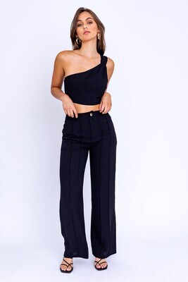 Black Pintuck Wide Leg Pants